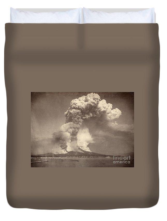 1872 Duvet Cover featuring the photograph Pompeii: Mount Vesuvius by Granger