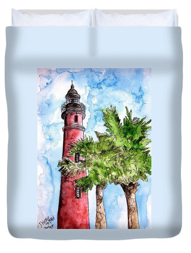 Ponce De Leon Duvet Cover featuring the painting Ponce De Leon Inlet Florida Lighthouse Art by Derek Mccrea