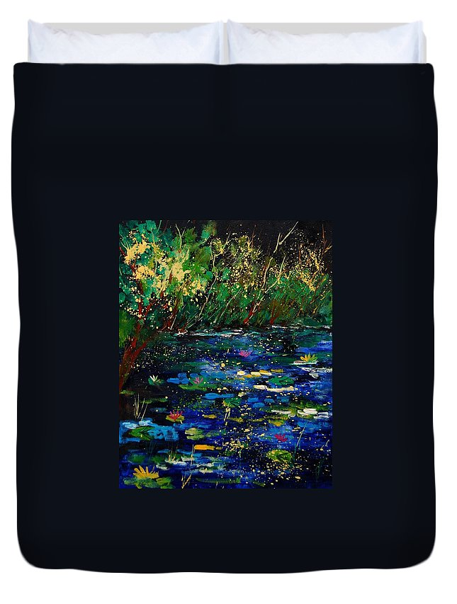 Water Duvet Cover featuring the painting Pond 459030 by Pol Ledent