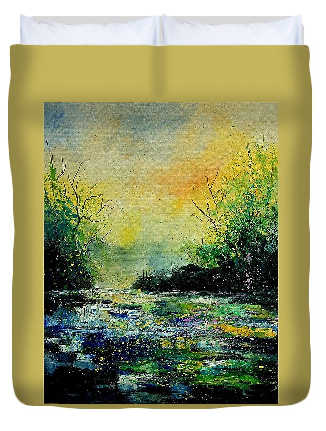 Water Duvet Cover featuring the painting Pond 459060 by Pol Ledent