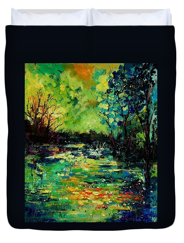 Pond Duvet Cover featuring the painting Pond 560120 by Pol Ledent