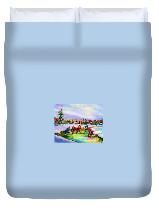 Hockey Duvet Cover featuring the painting Pond Hockey Blue Skies by Carole Spandau