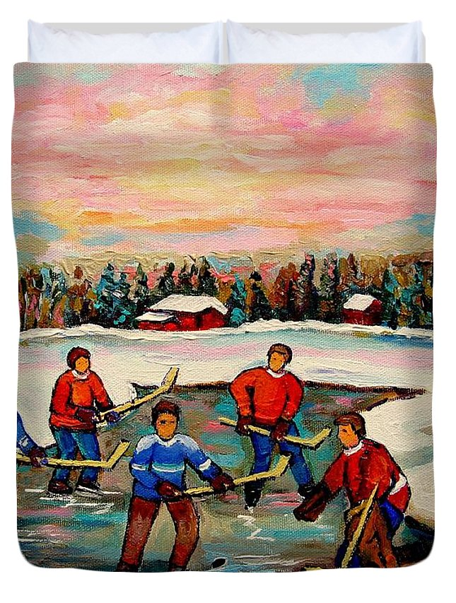 Montreal Duvet Cover featuring the painting Pond Hockey Countryscene by Carole Spandau