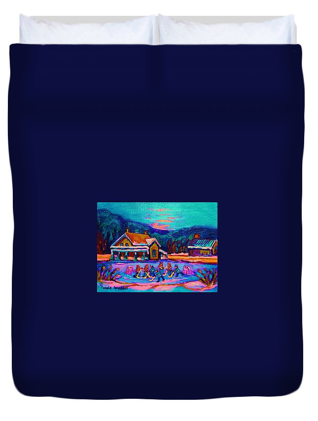 Pond Hockey Duvet Cover featuring the painting Pond Hockey Two by Carole Spandau