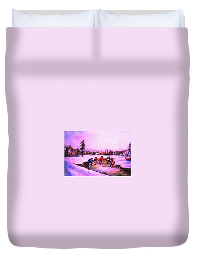 Hockey Duvet Cover featuring the painting Pond Hockey Warm Skies by Carole Spandau