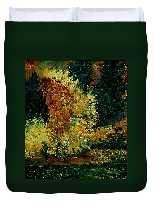 Landscape Duvet Cover featuring the painting Pond In Fenffe by Pol Ledent
