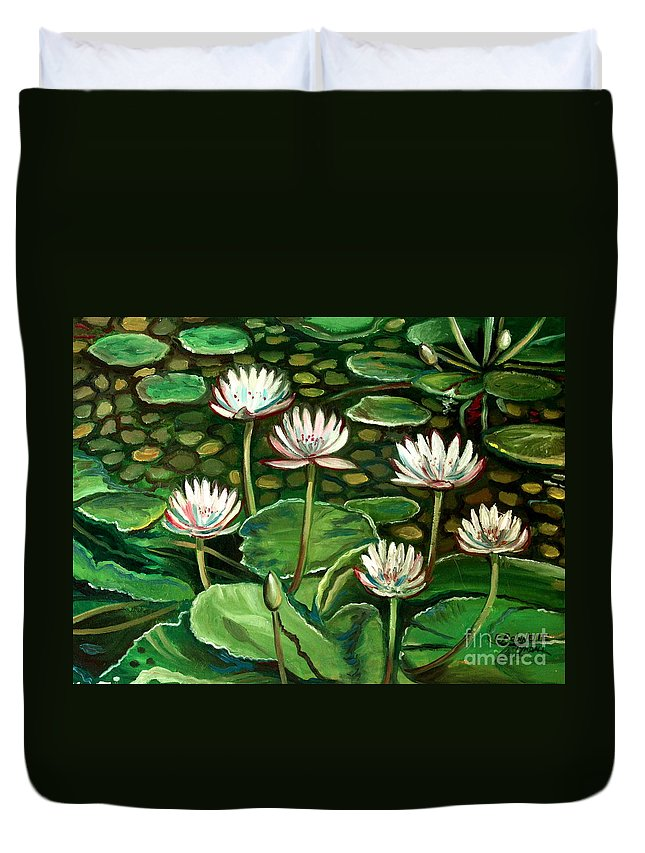 Water Duvet Cover featuring the painting Pond Of Petals by Elizabeth Robinette Tyndall
