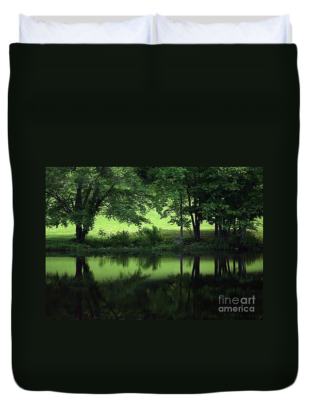 Summer Duvet Cover featuring the photograph Pond Reflect by Karol Livote