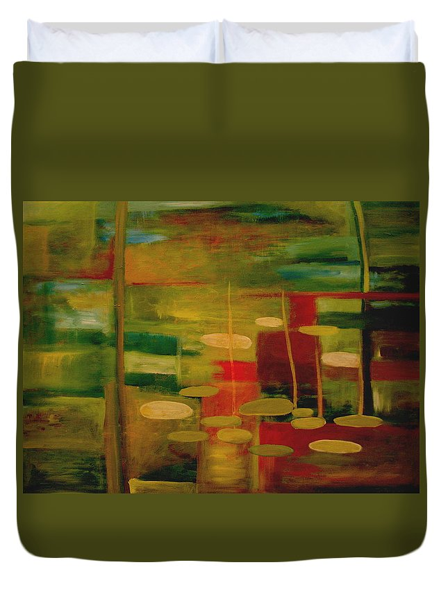 Pond Duvet Cover featuring the painting Pond Reflections by Jun Jamosmos