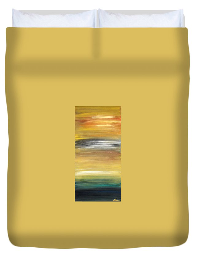 Waves Duvet Cover featuring the painting Pond by Todd Hoover