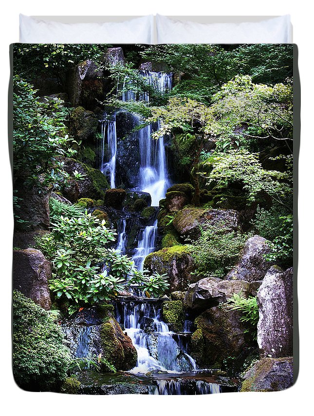 Zen Duvet Cover featuring the photograph Pond Waterfall by Anthony Jones