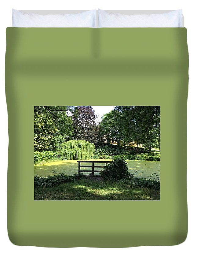Duvet Cover featuring the photograph Pond With Water Ridge by ISABELLE Foley