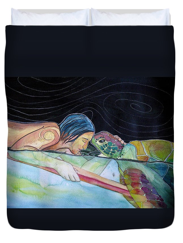 Surfing Duvet Cover featuring the painting Pono--harmony by Kimberly Kirk