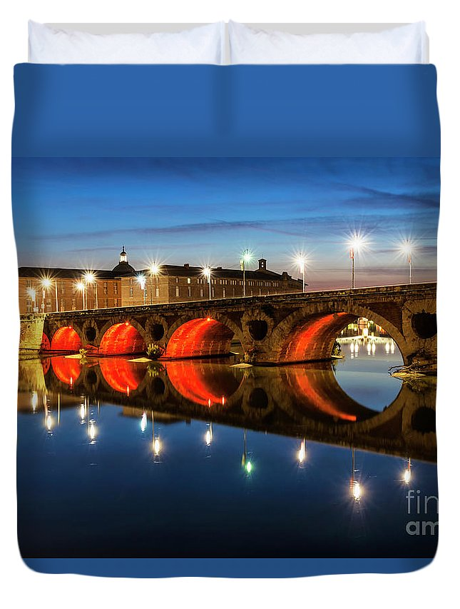Pont Neuf Duvet Cover featuring the photograph Pont Neuf In Toulouse by Elena Elisseeva