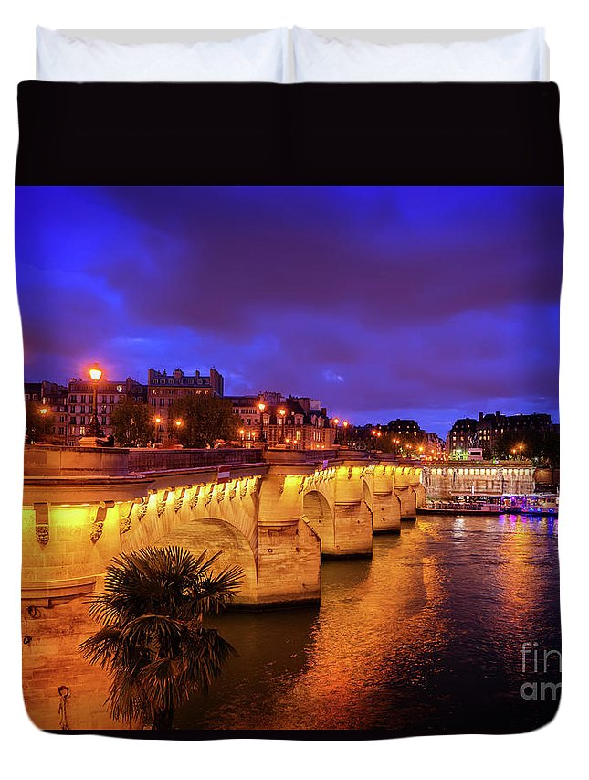 Paris Duvet Cover featuring the photograph Pont Neuf At Night by Anastasy Yarmolovich