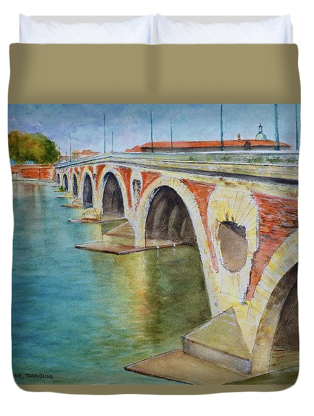 Bridge Duvet Cover featuring the painting Pont Neuf Sur La Garonne At Toulouse by Dai Wynn