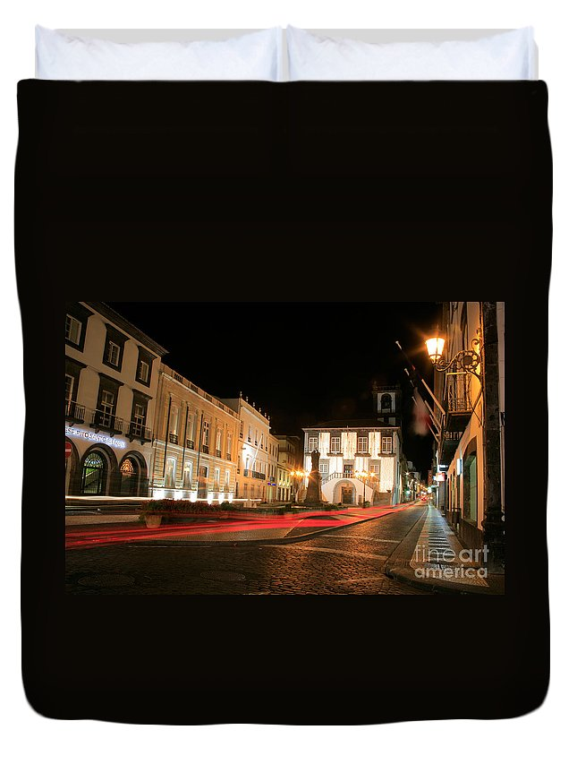 Azores Duvet Cover featuring the photograph Ponta Delgada At Night by Gaspar Avila