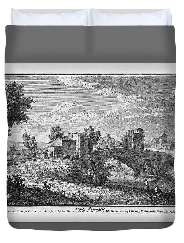 Giuseppe Vasi Duvet Cover featuring the drawing Ponte Mammolo by Giuseppe Vasi