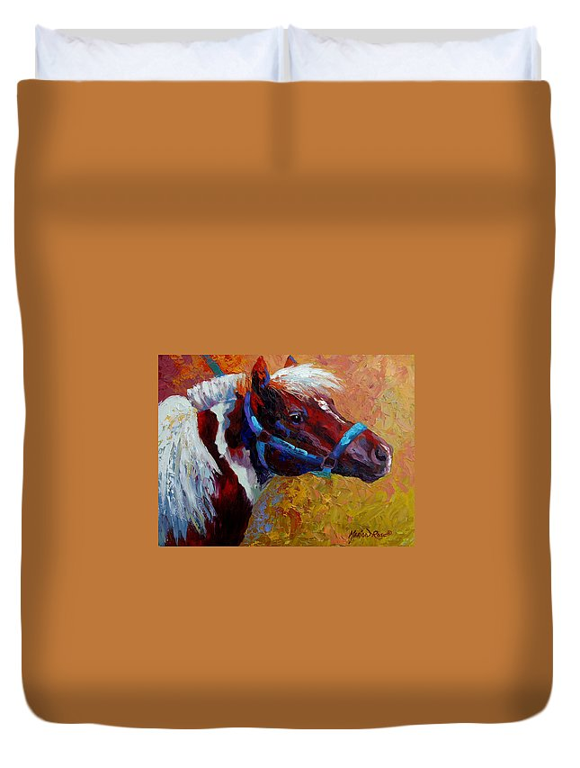 Western Duvet Cover featuring the painting Pony Boy by Marion Rose