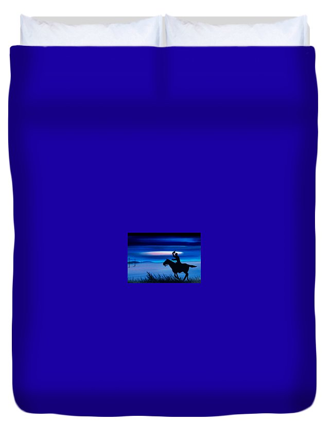 Horse Duvet Cover featuring the painting Pony Express Rider Blue by Reggie Hart
