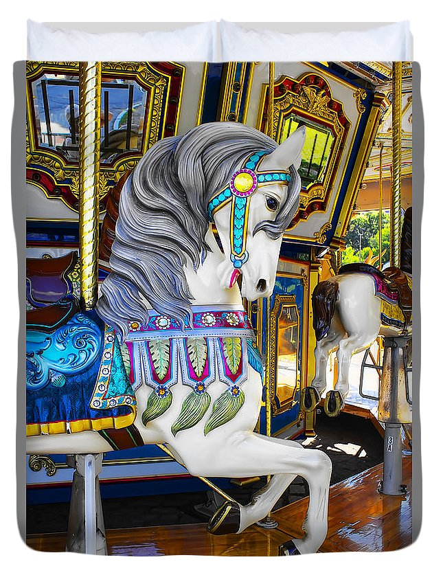 Pony Duvet Cover featuring the photograph Pony Carousel - Pony Series 5 by Carlos Diaz