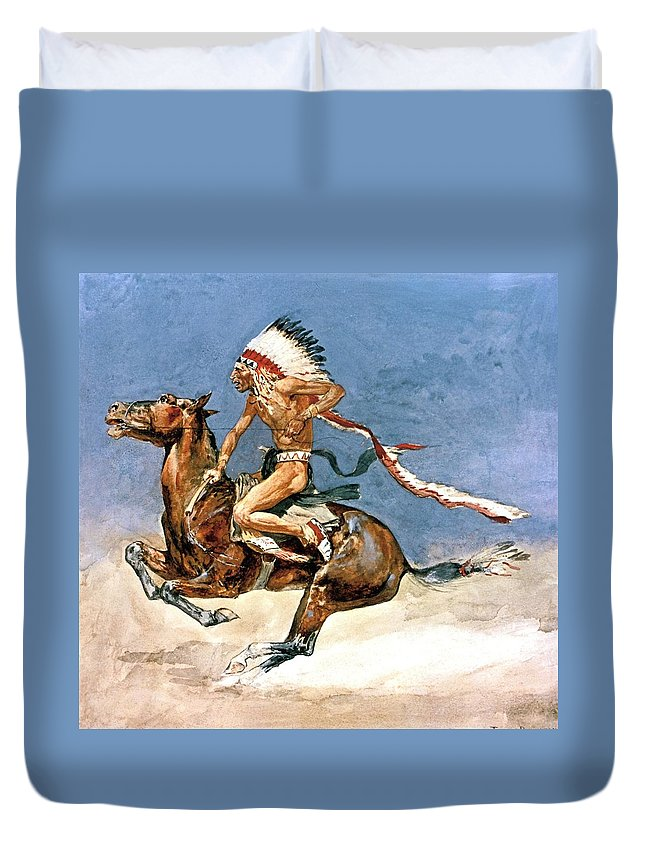 Pony War Dance. Frederic Remington Duvet Cover featuring the digital art Pony War Dance by Frederic Remington