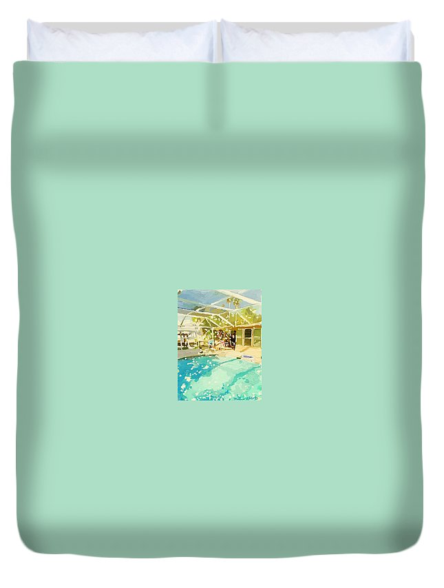 Glittering Day Duvet Cover featuring the painting Pool And Screened Pool House by Melissa Abbott
