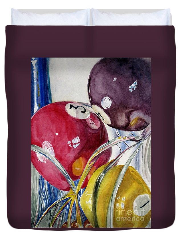 Still Life Duvet Cover featuring the painting Pool Balls In A Vase by Karen Boudreaux