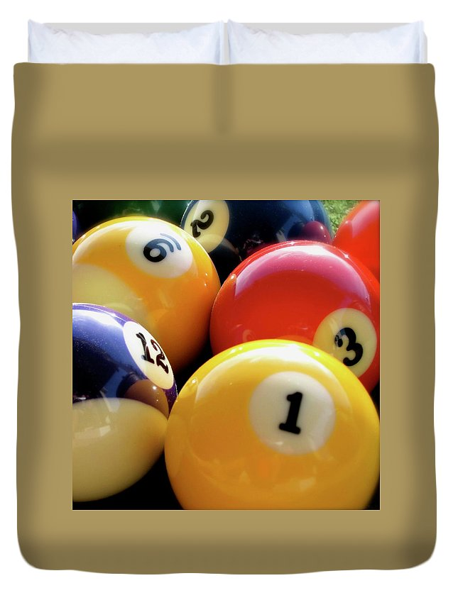 Pool Duvet Cover featuring the photograph Pool Balls by Lillian Bell