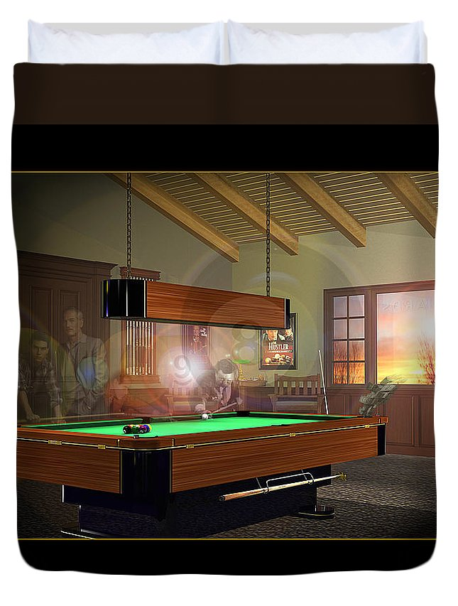 Pool Duvet Cover featuring the digital art Pool Ghosts by Draw Shots