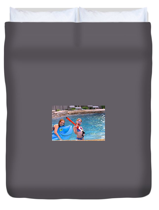 Girls Duvet Cover featuring the photograph Pool Party Invite by DUG Harpster