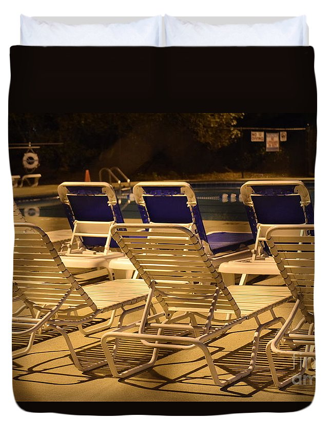 Pool Duvet Cover featuring the photograph Pool Side by Anita Goel