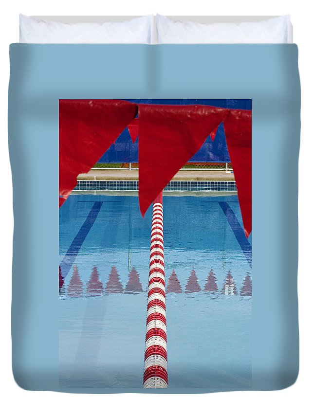 Flag Duvet Cover featuring the photograph Pool by Skip Hunt