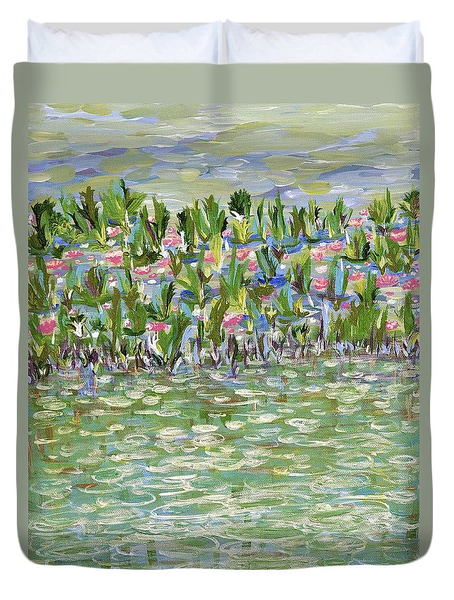 Landscape Duvet Cover featuring the painting Pools Of Light by Sara Credito