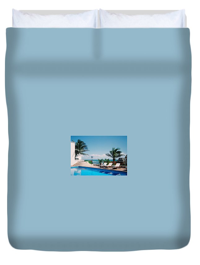 Resort Duvet Cover featuring the photograph Poolside by Anita Burgermeister
