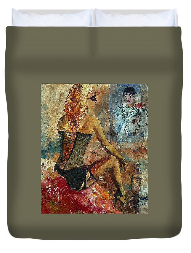 Girl Duvet Cover featuring the painting Poor Pierrot by Pol Ledent
