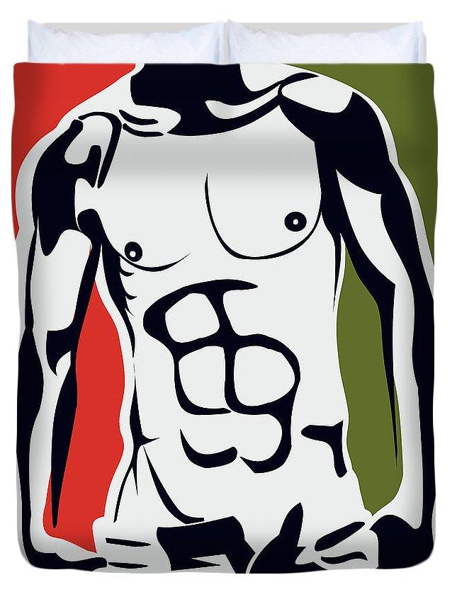 Male Nude Art Duvet Cover featuring the digital art Pop Art Body by Mark Ashkenazi
