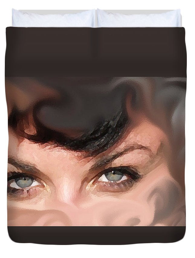 Eyes Duvet Cover featuring the photograph Pop Art Eyes by Heather Coen