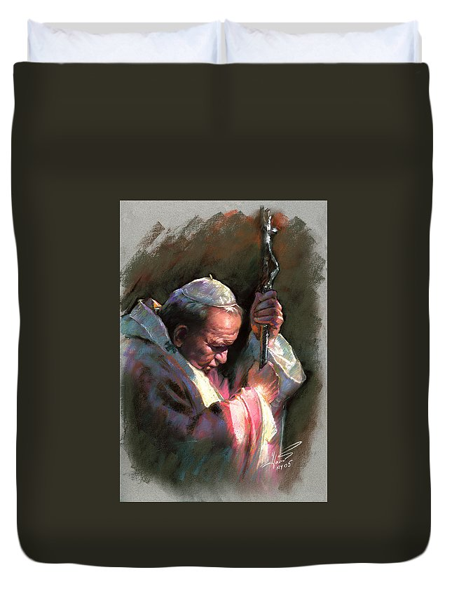 Portrait Duvet Cover featuring the pastel Pope John Paul II by Ylli Haruni
