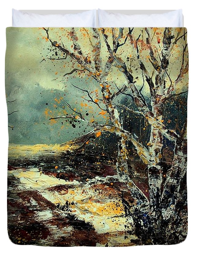 Tree Duvet Cover featuring the painting Poplars 45 by Pol Ledent