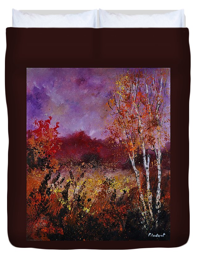 Landscape Duvet Cover featuring the painting Poplars in autumn by Pol Ledent