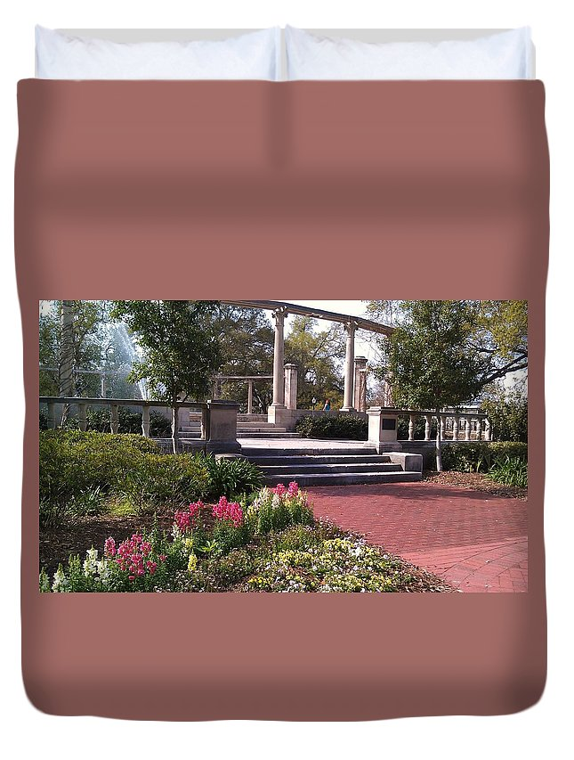Popp Fountain Duvet Cover featuring the photograph Popp Fountain Brickway Path by Deborah Lacoste
