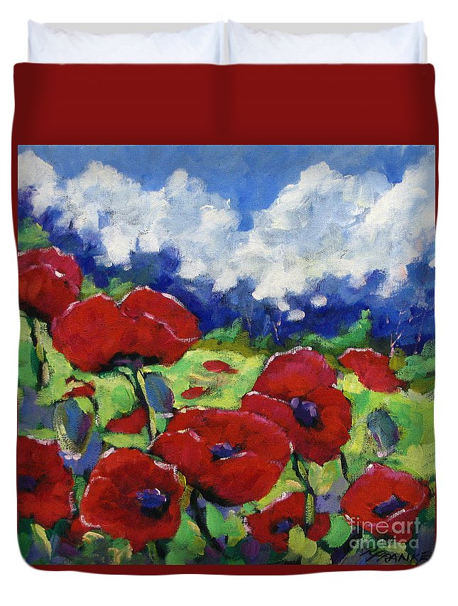 Art Duvet Cover featuring the painting Poppies 003 by Richard T Pranke