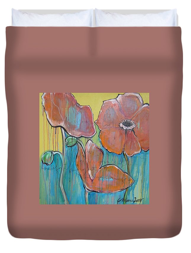 Pop Art Duvet Cover featuring the painting Poppies 3 by Laurie Maves ART