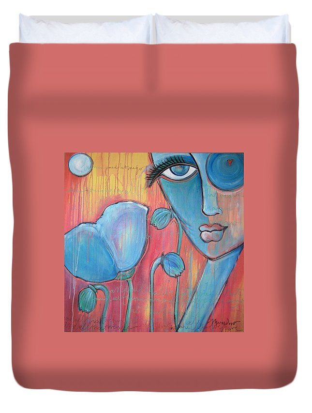 Pop Art Duvet Cover featuring the painting Poppies 7 Luna Let Me Go by Laurie Maves ART