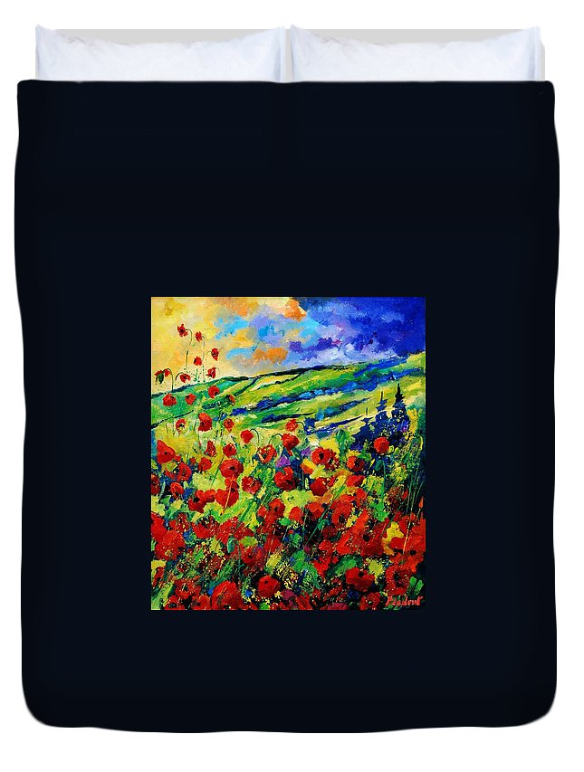 Flowers Duvet Cover featuring the painting Poppies 78 by Pol Ledent