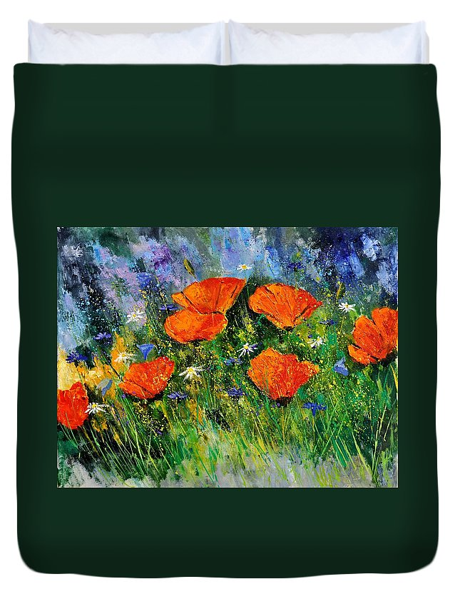 Poppies Duvet Cover featuring the painting Poppies 79 by Pol Ledent