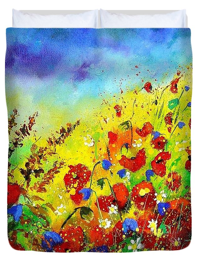 Poppies Duvet Cover featuring the print Poppies And Blue Bells by Pol Ledent