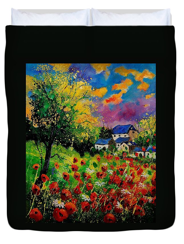 Landscape Duvet Cover featuring the painting Poppies and daisies 560110 by Pol Ledent