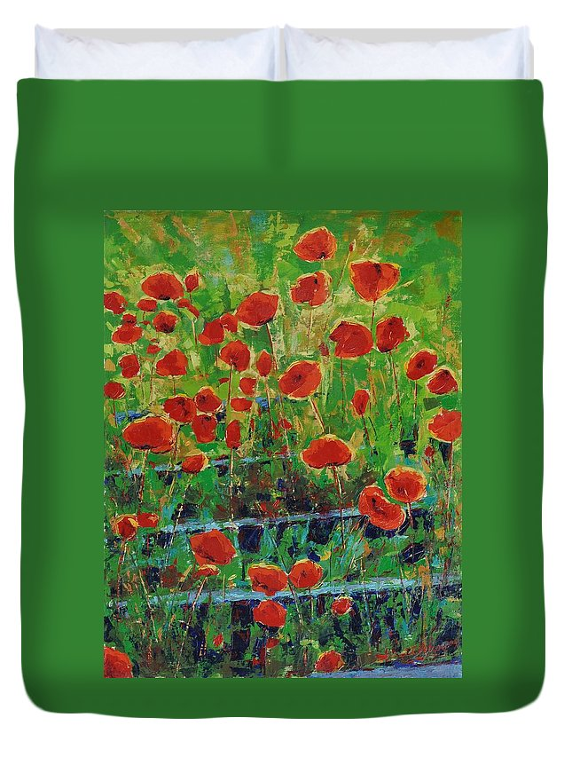 Poppies Duvet Cover featuring the painting Poppies And Traverses 1 by Iliyan Bozhanov